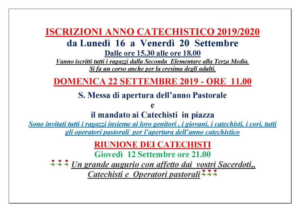 Calendario Pastorale 2020.Iscrizioni Anno Catechistico 2019 2020 Parrocchia Vergine
